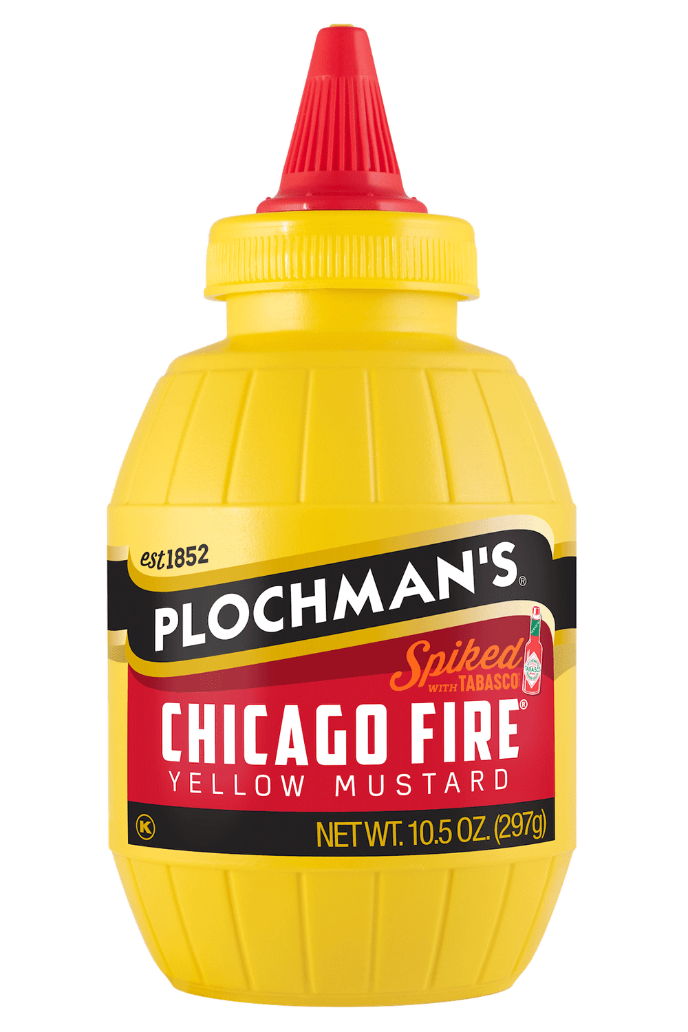 Plochman's Chicago Fire mustard in 10.5oz barrel bottle