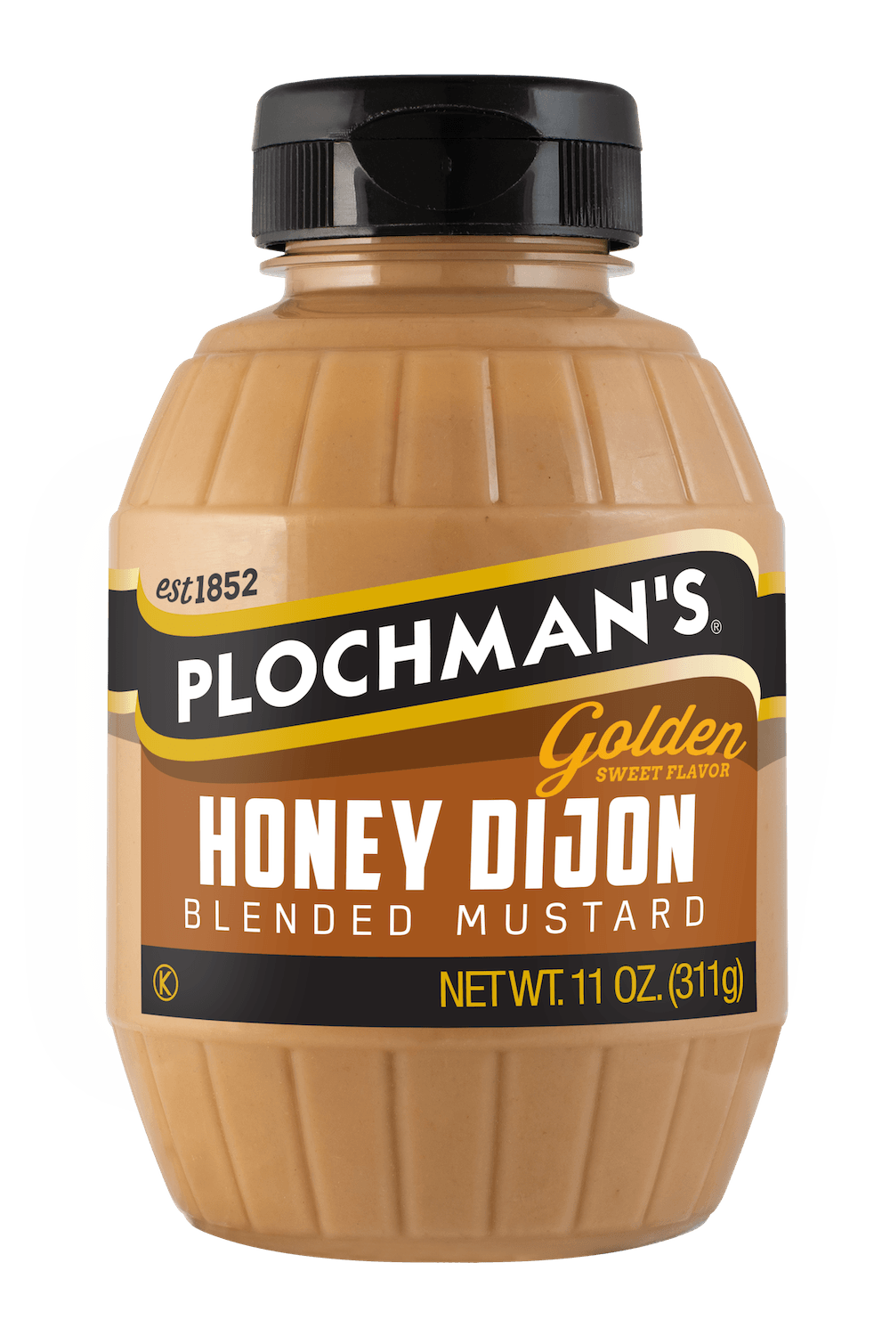 Plochman's Honey Dijon mustard in 11oz barrel bottle