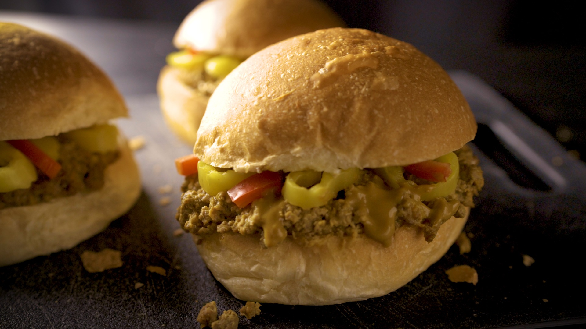 Ground beef sliders with mustard