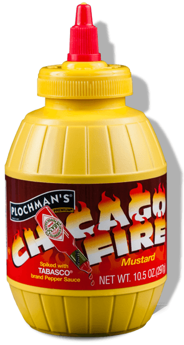 A bottle of Plochman's Premium Chicago Fire Mustard