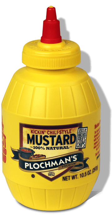 A bottle of Plochman's Premium Kickin' Chili-Style Mustard