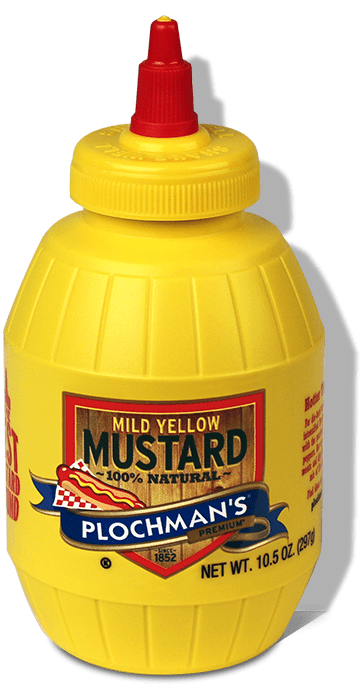 A bottle of Plochman's Premium Mild Yellow Mustard.
