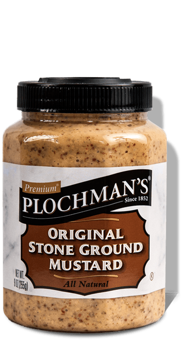 A bottle of Plochman's Premium Original Stone Ground Mustard