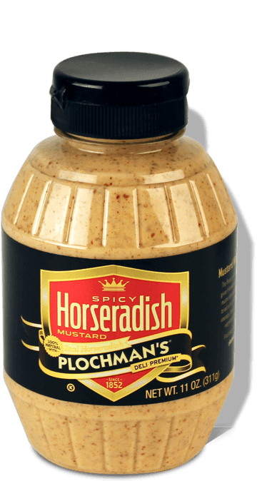 A bottle of Plochman's Premium Spicy Horseradish Mustard