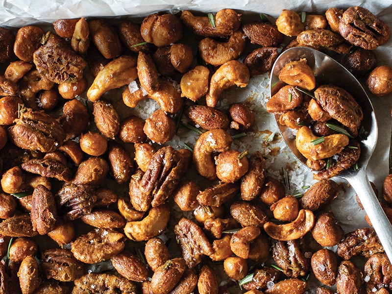 Close up of rosemary roasted nuts
