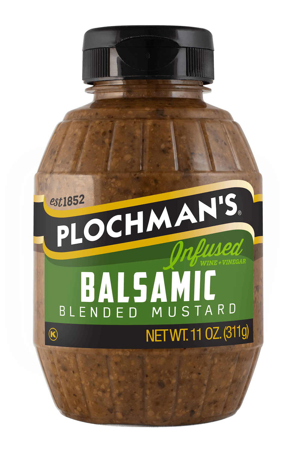 Plochman's Balsamic mustard in 11oz Barrel Bottle