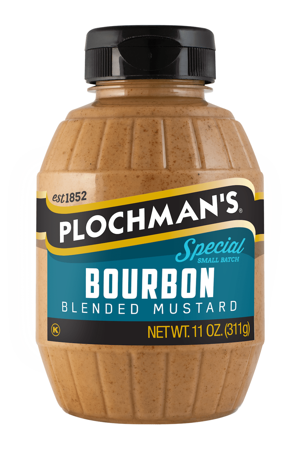 Plochman's Bourbon mustard in 11oz Barrel Bottle