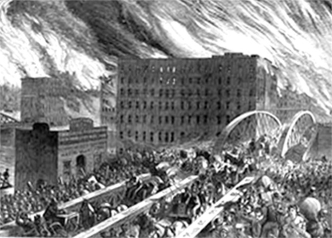 The Plochman's factory survives the Great Chicago Fire in 1871.