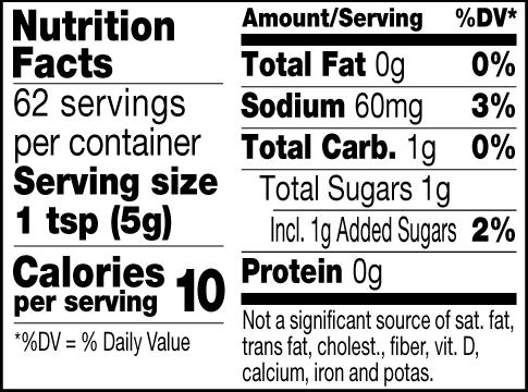 Bourbon mustard nutrition facts