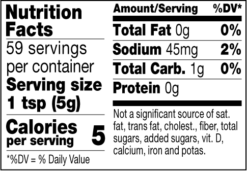 Chili Dog mustard nutrition facts