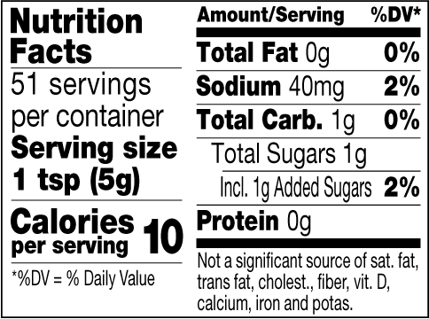 Cranberry mustard nutrition label