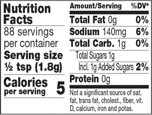 Smoked BBQ Mustard Mixer Nutrition Facts
