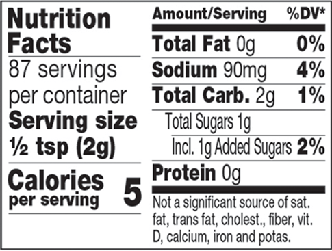 Sweet Thai Chili Mustard Mixer Nutrition Facts