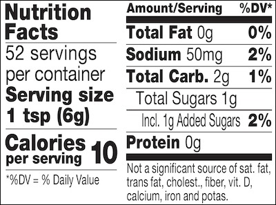 Carolina BBQ mustard nutrition facts